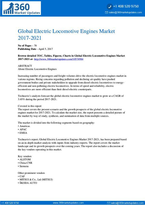 Report- Electric Locomotive Engines Market 2017-2021
