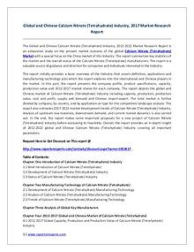 Calcium Nitrate (Tetrahydrate) Market 2021