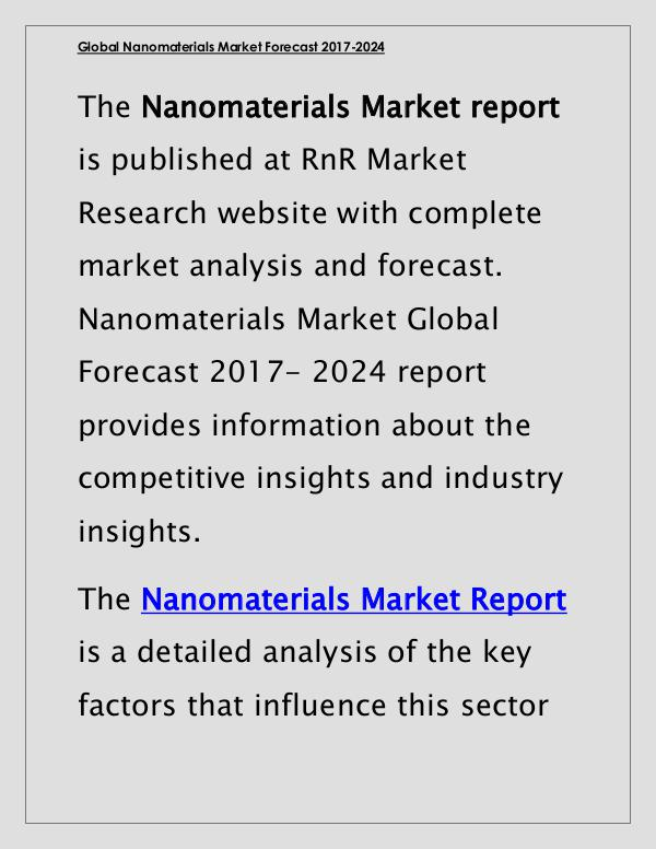 Nanomaterials Market Global Forecast & Industry Trends 2017 Report March 2017