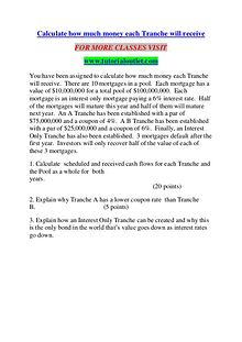 Calculate how much money each Tranche will receive/TUTORIALOUTLET DOT