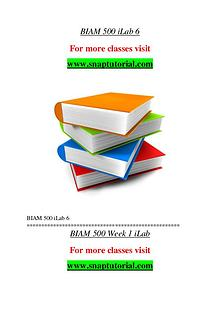 BIAM 500 help A Guide to career/Snaptutorial
