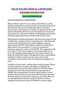 FIN 111 WALTON MEDICAL LABORATORY/TUTORIALOUTLET DOT COM