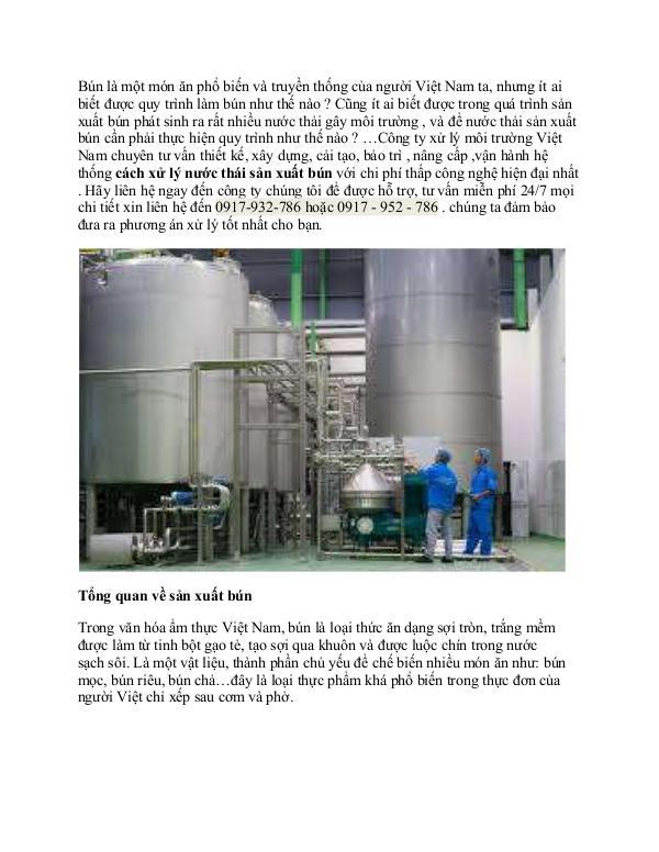 quy trình xử lý nước thải sản xuất bún