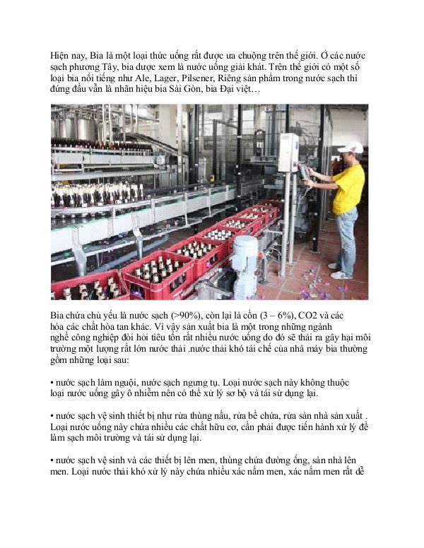 quy trình xử lý nước thải nhà máy bia