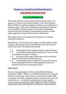 Prepare an executive level financial report/TUTORIALOUTLET DOT COM