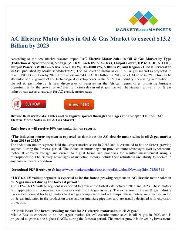 AC Electric Motor Sales in Oil & Gas Market to exceed $13 Bn by 2023 AC Electric Motor Sales in Oil & Gas Market to exc