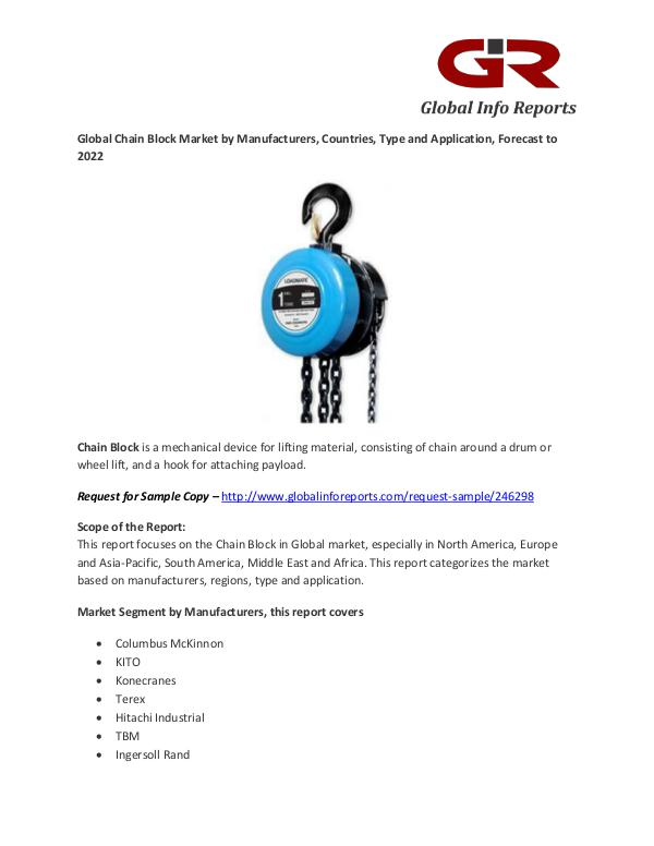 Chain Block Market- Industry Analysis, Size, Share, Growth, Trends Chain Block Market