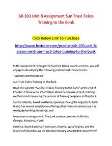 AB 203 Unit 8 Assignment Sun Trust Takes Training to the Bank - www.f