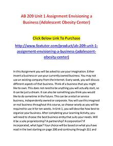 AB 209 Unit 1 Assignment Envisioning a Business (Adolescent Obesity C