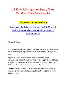 AB 209 Unit 5 Assignment Supply Chain (Retailing of Food Supplements)