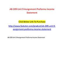 AB 209 Unit 9 Assignment Proforma Income Statement