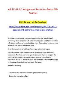AB 213 Unit 2 Assignment Perform a Menu Mix Analysis
