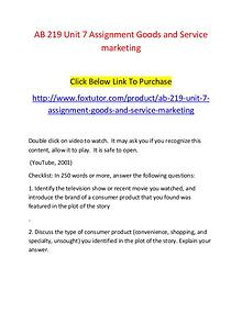 AB 219 Unit 7 Assignment Goods and Service marketing