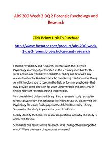 ABS 200 Week 3 DQ 2 Forensic Psychology and Research