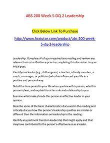 ABS 200 Week 5 DQ 2 Leadership