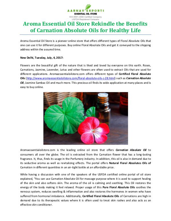 Aroma Essential Oil Store Rekindle the Benefits of Carnation Absolute Oils for Health