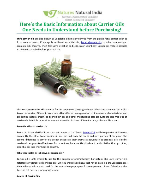 Here's the Basic Information about Carrier Oils One Needs to Understand before Purchasing!