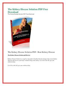 The Kidney Disease Solution PDF Free Download