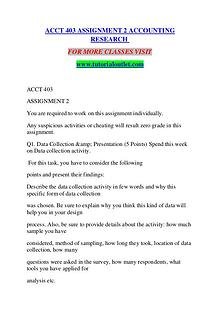 ACCT 403 ASSIGNMENT 2 ACCOUNTING RESEARCH / TUTORIALOUTLET DOT COM