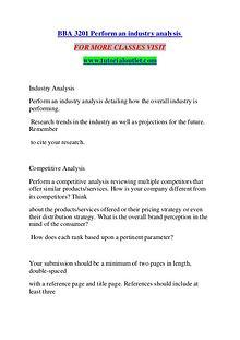 BBA 3201 PERFORM AN INDUSTRY ANALYSIS / TUTORIALOUTLET DOT COM