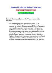 STRATEGIC PLANNING AND BUSINESS PLAN & QUOT / TUTORIALOUTLET DOT COM