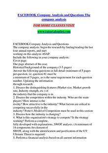 FACEBOOK COMPANY ANALYSIS AND QUESTIONS THE COMPANY ANALYSIS / TUTORI