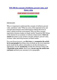 FIN 500 THE CONCEPTS OF INFLATION, PRESENT VALUE, AND FUTURE VALUE /