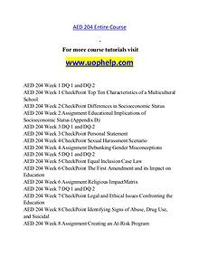 AED 204 help A Guide to career/uophelp.com