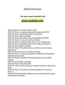 AED 222 help A Guide to career/uophelp.com