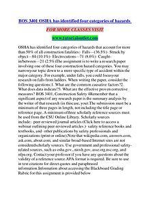 BOS 3401 OSHA HAS IDENTIFIED FOUR CATEGORIES OF HAZARDS / TUTORIALOUT