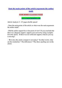 STATE THE MAIN POINTS OF THE ARTICLE ARGUMENTS THE AUTHOR MADE / TUTO