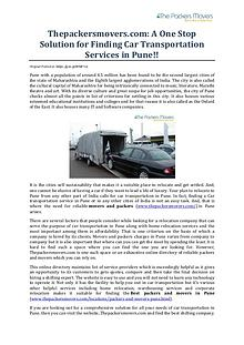 Thepackersmovers.com: A One Stop Solution for Finding Car Transportat