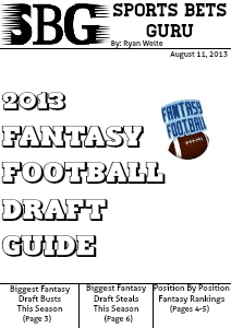 Sports Bets Guru 2013 Fantasy Football Draft Guide