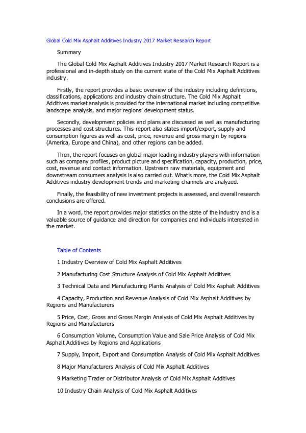 Global Cold Mix Asphalt Additives Industry 2017 Ma