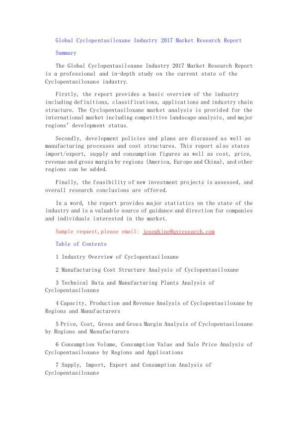Global Cyclopentasiloxane Industry 2017 Market Res