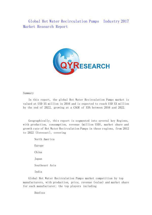 Global Hot Water Recirculation Pumps  Industry 201