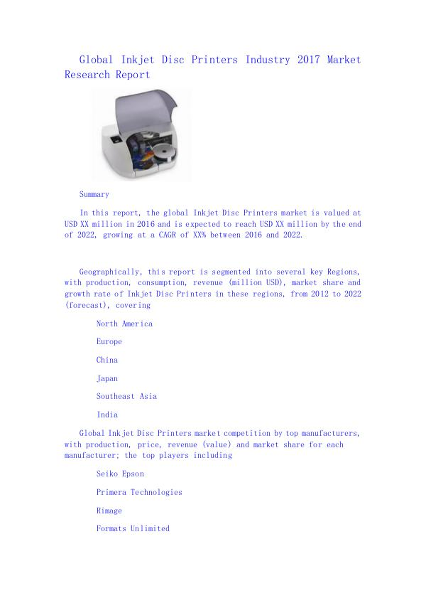 Global Inkjet Disc Printers Industry 2017 Market R