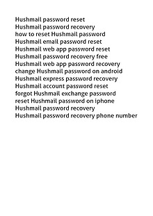 18002520044 Hushmail Password Recovery/Reset Phone Number