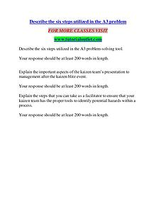 DESCRIBE THE SIX STEPS UTILIZED IN THE A3 PROBLEM/ TUTORIALOUTLET DOT