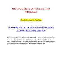 NRS 427V Module 2 UK Health care social determinants