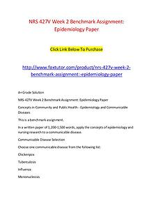 NRS 427V Week 2 Benchmark Assignment Epidemiology Paper