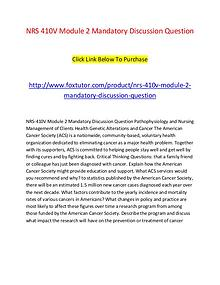 Nrs 410v Module 2 Mandatory Discussion Question Pathophysiology