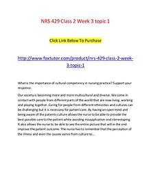 NRS 429 Class 2 Week 3 topic 1