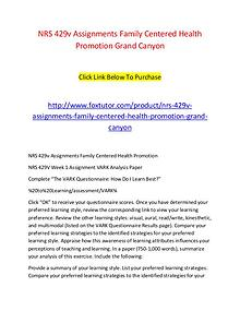 NRS 429v Assignments Family Centered Health Promotion Grand Canyon