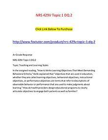 NRS 429V Topic 1 DQ 2