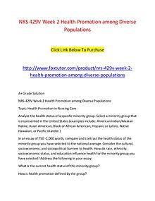 NRS 429V Week 2 Health Promotion among Diverse Populations