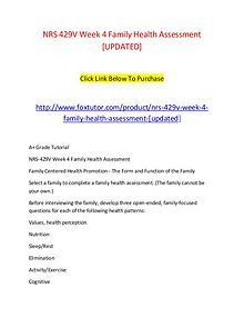 NRS 429V Week 4 Family Health Assessment [UPDATED]