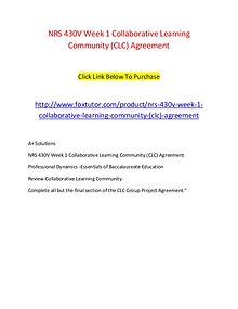 NRS 430V Week 1 Collaborative Learning Community (CLC) Agreement