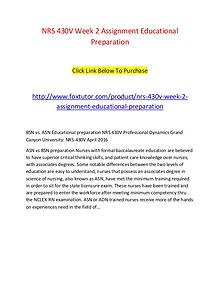 NRS 430V Week 2 Assignment Educational Preparation