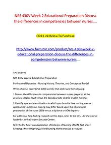 NRS 430V Week 2 Educational Preparation Discuss the differences in co